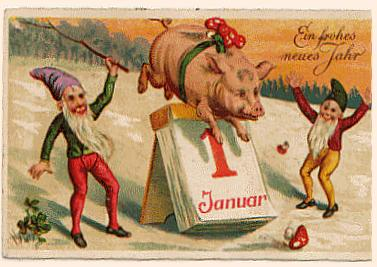 new years post card 1935 germany lucky pig adorned with amanita mushrooms jumps over the calendar elves themselves lucky and four leaf clovers