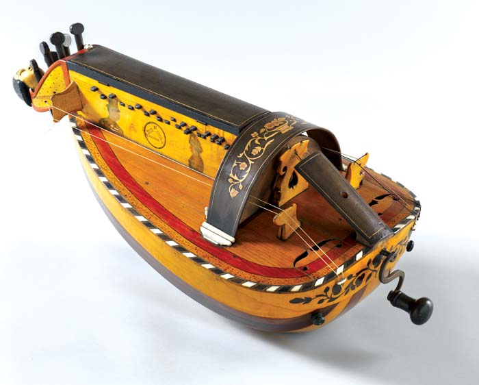 Hurdy-Gurdy, 1889, Jacques Pajot II (1847–1897), French (Jenzat), wood, ebony, maple, dye, paint, walnut, bone, ivory, paint, possibly pine, copper alloy and iron
