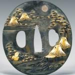 Mixed metal inlaid bronze tsuba