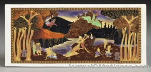 Wedgwood Fairyland Lustre Picnic by a River Plaque, England, c. 1920, rectangular, with pattern Z5158 set to a nighttime sky, printed mark, 4 3/4 x 10 3/4 in. sold for $13,035.