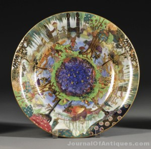 Wedgwood Fairyland Lustre Lily Tray, England, c. 1920, Fairy Gondola pattern to a day-lit sky, the exterior with flying geese to a mottled purple/gray ground, printed mark, dia. 13 in. sold for $20,825.