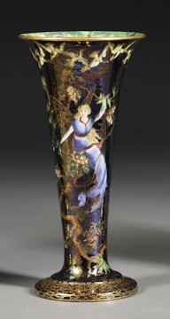 Wedgwood Fairyland Lustre Trumpet Vase, England, c. 1920, Z4968 Butterfly Woman to a black sky, the interior in mother-of-pearl with Floating Fairies border, printed mark, ht. 9 1/2 in. sold for $6,737.50.