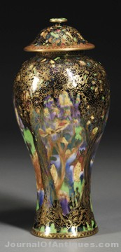 Wedgwood Fairyland Lustre Vase and Cover, England, c. 1920, Z4966 Jewelled Tree with Cat and Mouse and Copper Trees, printed mark, ht. 11 1/4 in. sold for $23,700.