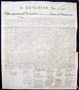 Copy of Declaration, $10,620; Archives Int'l