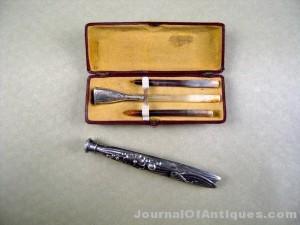 Rare boxed sterling silver Victorian handbag perfume flask filler funnel set.