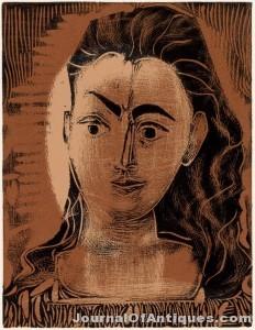 Picasso linoleum cut, $102,000, Swann Gall