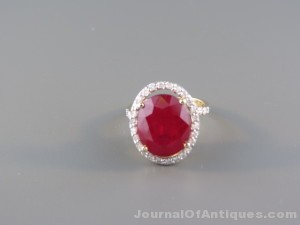 Ruby and diamond ring, $5,462, Richard D. Hatch