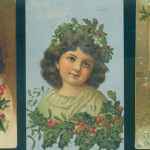 Three postcards from the pre-1920 era. Beautiful children in Christmas scenes - $8.00 each