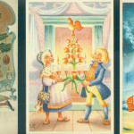Scandinavian art $10 each. German printed postcard of Punch wooing a bisque doll, $12. Vintage postcards are wonderful to decorate with.