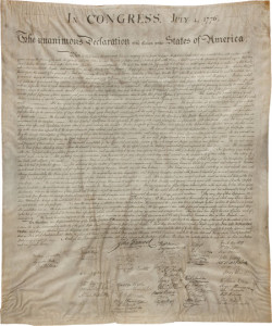Stone copy of Declaration of Independence