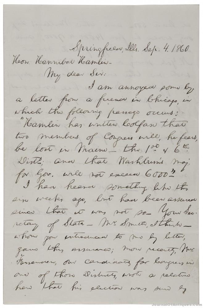 Abraham Lincoln letter, $70,500, Cowan's Auctions