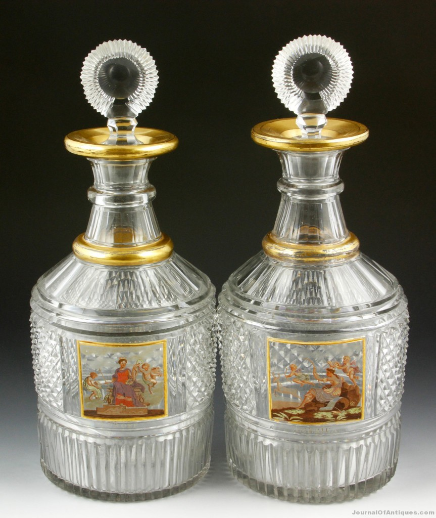 English glass decanters, $46,215, Kaminski Auc.