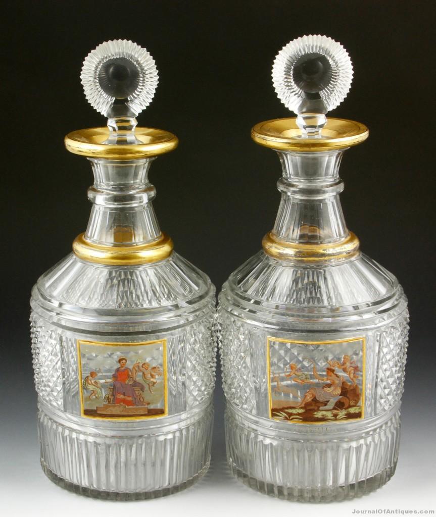 English glass decanters, $46,215, Kaminski Auc.