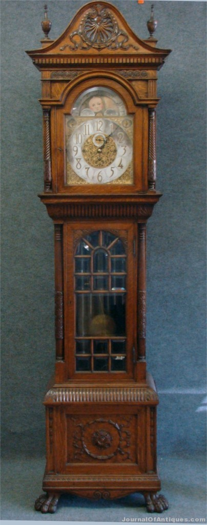 Oak tall case clock, $19,550, Carlsen