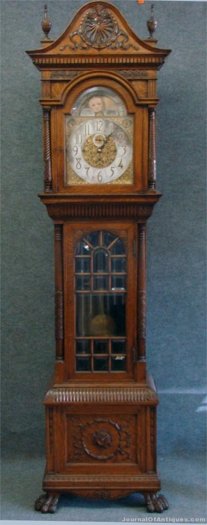 Oak tall case clock, $19,550, Carlsen