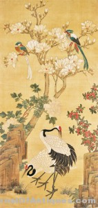 Antique Chinese Scroll Painting: Cranes & Magnolia