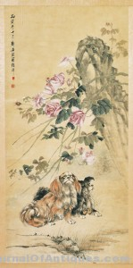 Large Chinese Scroll: Dogs