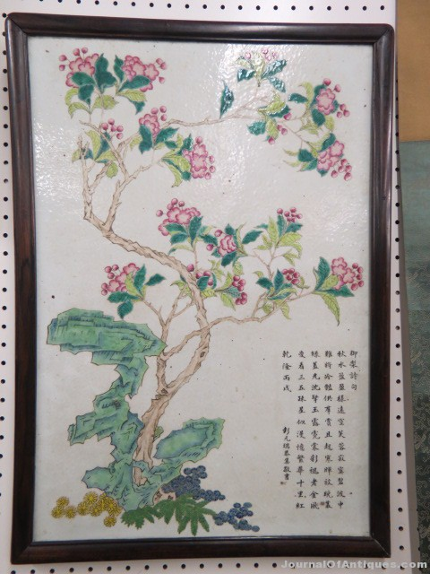 Chinese porcelain plaque, $6,329, Richard D. Hatch