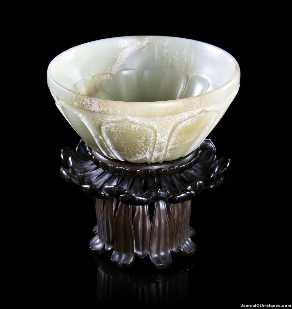 Jade lotus form bowl, $230,500, Leslie Hindman
