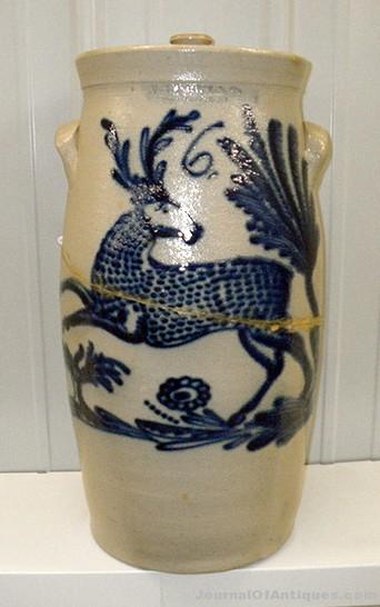 Stoneware butter churn, $19,500, Rhonda's Auction