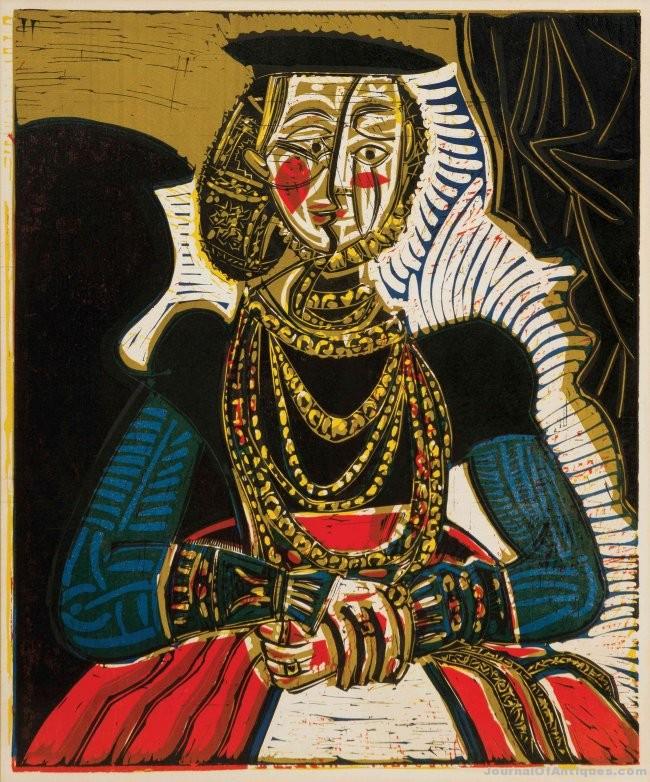 Picasso linoleum cut, $572,500, Leslie Hindman