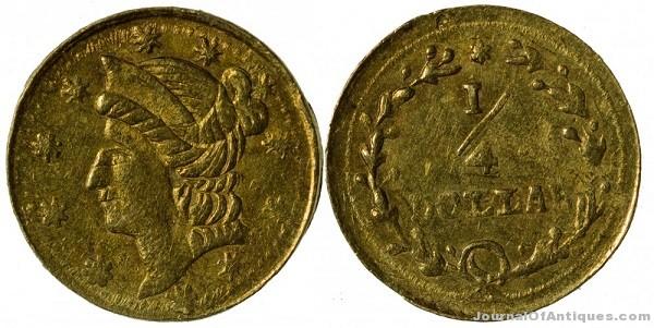 Quarter-dollar gold coin, $41,000, Holabird-Kagin