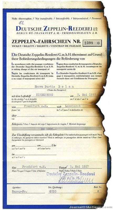 Ken's Korner: Ticket from the ill-fated Hindenburg is on exhibit