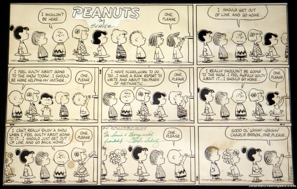 Peanuts Sunday strip, $41,400, Philip Weiss