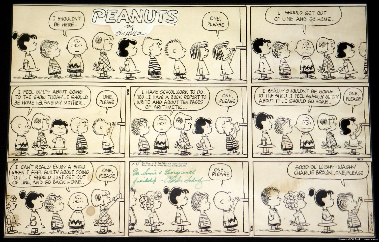 Peanuts Sunday strip, $41,400, Philip Weiss