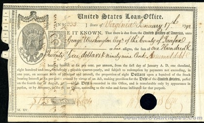 1792 Washington bond, $265,500, Archives Int'l