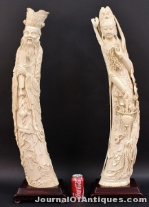 Pair of Chinese carved tusks, $45,000, Ahlers & Ogletree