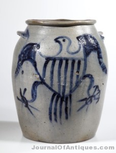 Gavels 'n' Paddles: Stoneware salt-glazed jar, $74,750, Jeffrey S. Evans