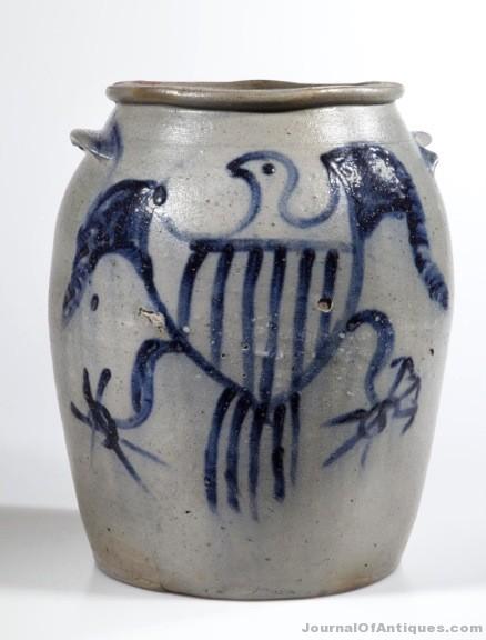 Gavels 'n' Paddles: Stoneware salt-glazed jar, $74,750, Jeffrey S. Evans