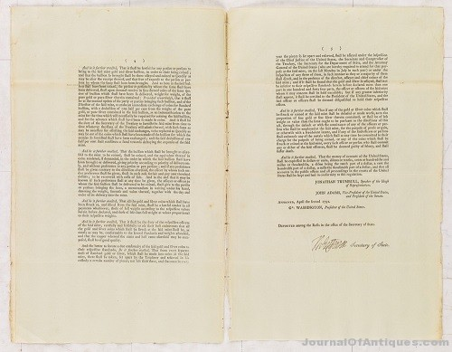 Gavels 'n' Paddles: Jefferson signed document, $118,750, Swann Auction