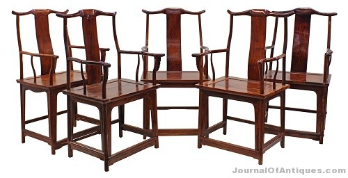 Gavels 'n' Paddles: Five huanghuali chairs, $143,800, Clars Auction