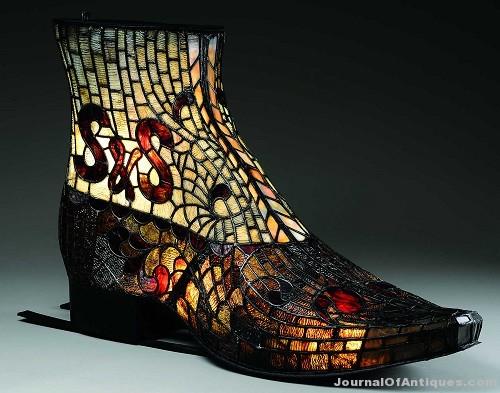 Gavels 'n' Paddles: Leaded glass boot sign, $109,350, James D. Julia