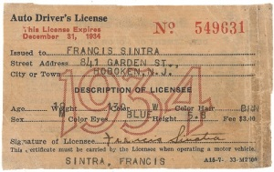 Gavels 'n' Paddles: Sinatra's driver's license, $15,575, RR Auction