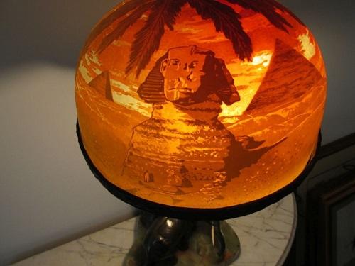 Gavels 'n' Paddles: Cameo glass Sphinx lamp, $19,200, John W. Coker