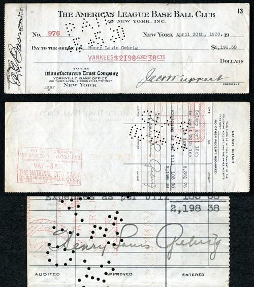 Gavels 'n' Paddles: Lou Gehrig signed check, $22,600, Philip Weiss