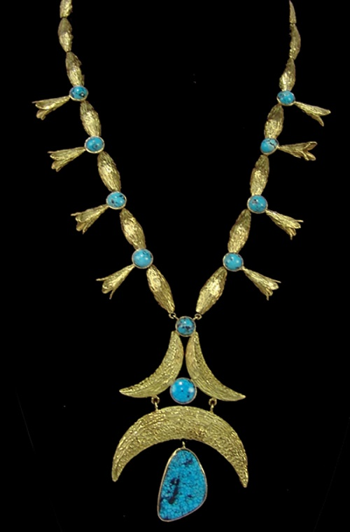 Gavels 'n' Paddles: Gold and turquoise necklace, $5,750, Allard Auctions, Inc.