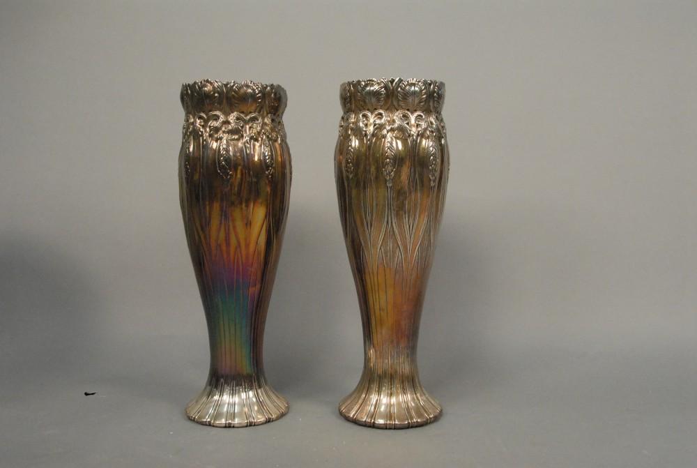Gavels N Paddles Pair Of Tiffany Silver Vases 33600 Nadeaus