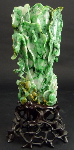 Gavels n Paddles: Chinese jadeite cabbage vase, $59,520, Elite Decorative Arts