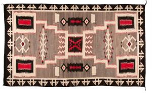 Navajo Storm pattern room-sized floor rug. Circa 1945. est. $4,000-6,000