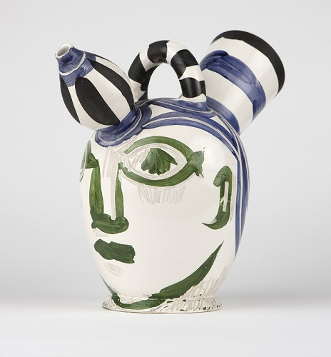 A polychrome glazed and knife-engraved pottery pichet a glace (or ice pitcher), designed by Pablo Picasso for Madoura, sold for $36,000