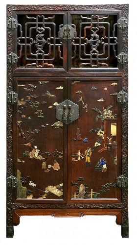 A stone inlaid Chinese cabinet from the Qing Dynasty sold for $233,000