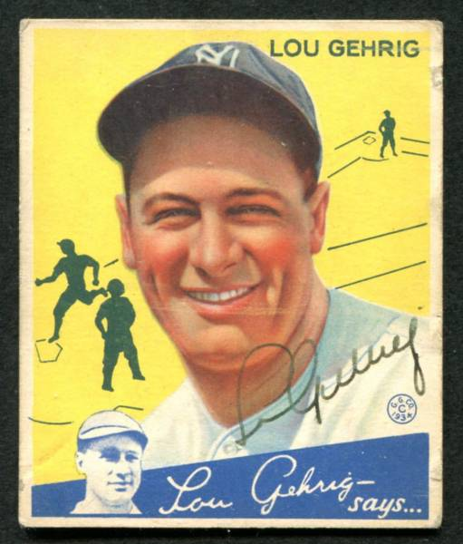 Gavels 'n' Paddles: Lou Gehrig-signed card, $49,450, Weiss Auctions