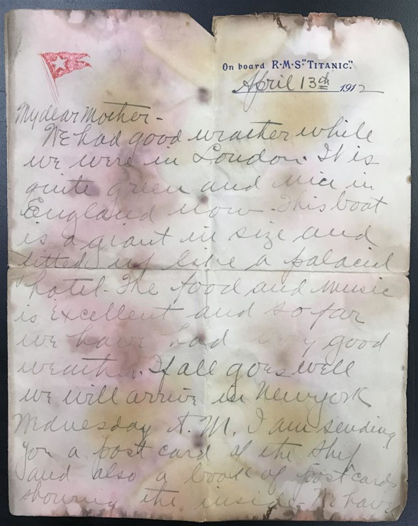 Gavels 'n' Paddles: Letter written on the Titanic, $22,500, Philip Weiss Auctions
