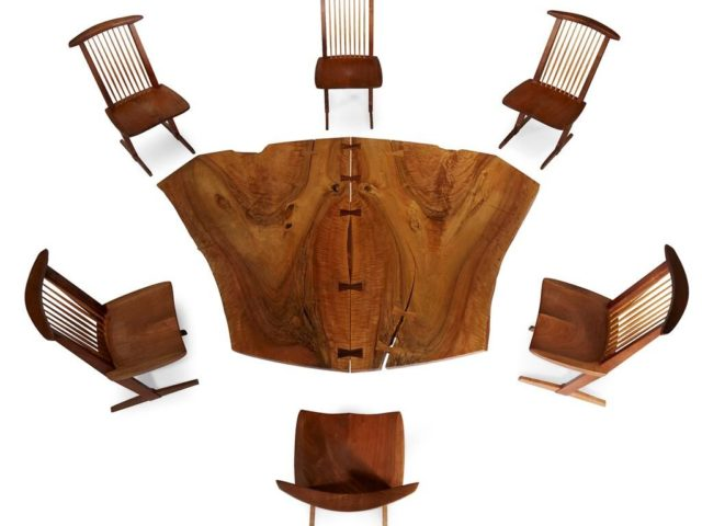 Gavels 'n' Paddles: Nakashima table and chairs, $187,500, Freeman's Auction