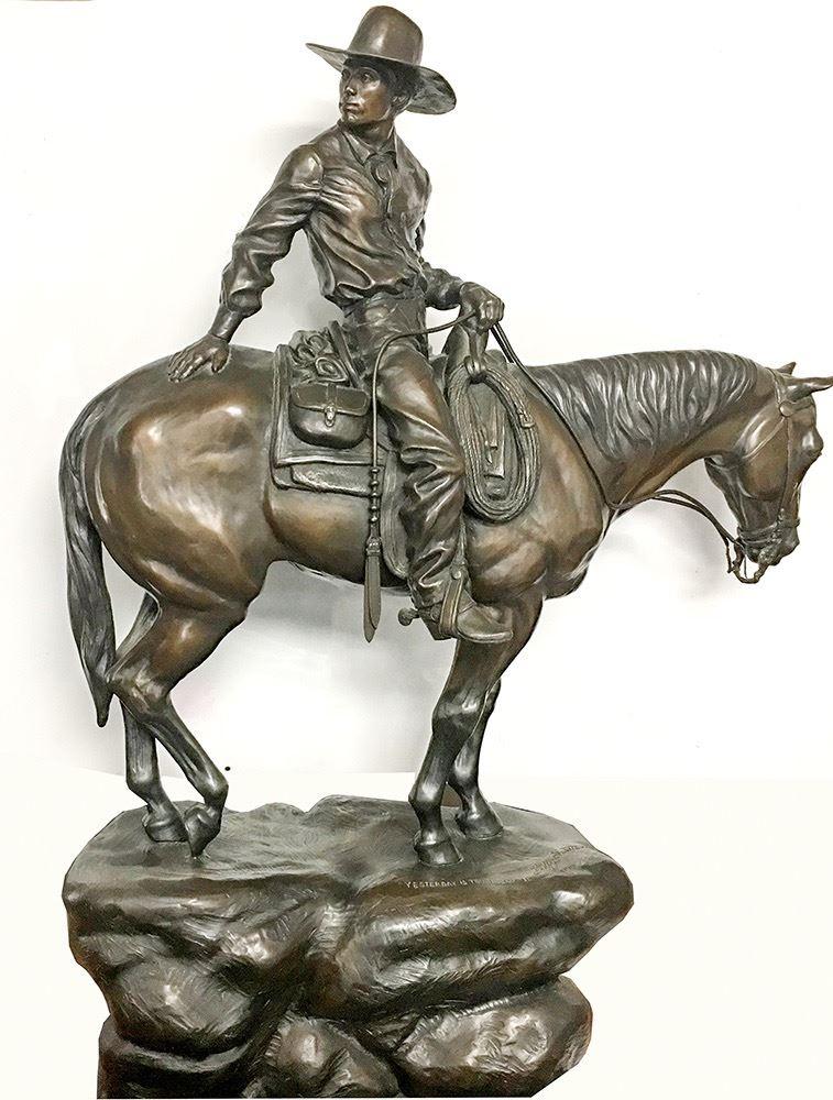 Gavels 'n' Paddles: Western cowboy bronze by Saletta, $5,000, Holabird Western Americana