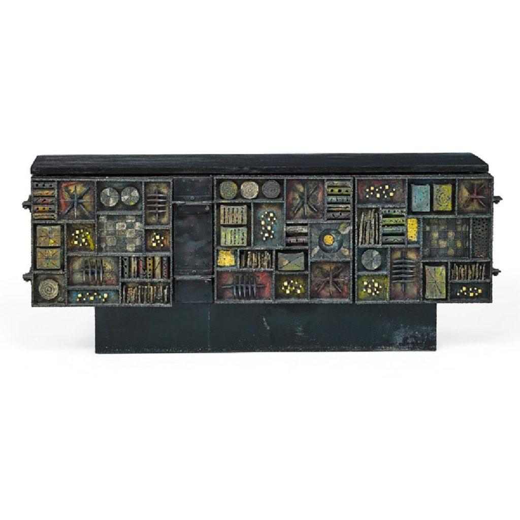 Gavels 'n' Paddles: Paul Evans Sculpture Front cabinet, $137,500, Rago Arts & Auction Center